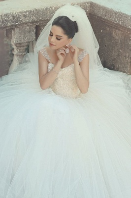 Crystal White Tulle Long Ball Gown Wedding Dress with Beadings Off Shoulder Elegant Formal Bridal Gowns_1