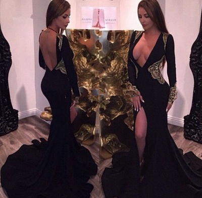 Deep V-neck Sexy Black Evening Dresses Gold Lace  Party Dresses with Slit CE086_3