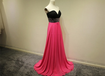 Sweetheart Crystal Zipper Evening Dresses Elegant Attractive Zipper  Prom Gowns_2