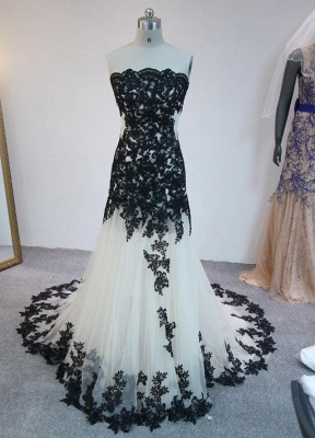 Latest Strapless Court Train Lace Prom Dress Custom Made Tulle Formal Occasion Dresses_1