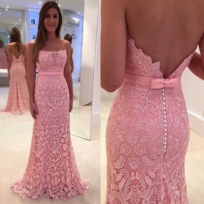 Mermaid Strapless Lace Evening Gowns Sexy Open Back Long  Party Gowns BA3861_3