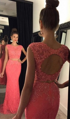 Halter Lace Two Piece Prom Dress Gorgeous Beading  Formal Occasion Dress GA044_1