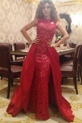 Elegant Red Lace Floor Length Evening Dress New Arrival Detachable Custom Made Special Occasion Dress_3