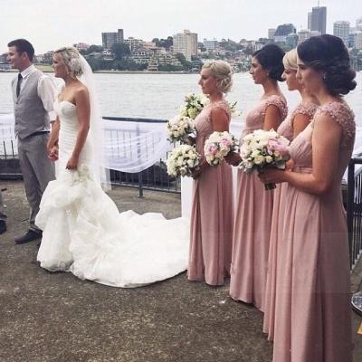 Long Pink Handmade Sheer-Neck Flowers Chiffon Bridesmaid Dresses_5