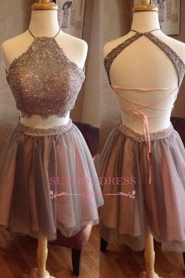Halter Spaghetti Straps Two Piece Lace Homecoming Dresses_1