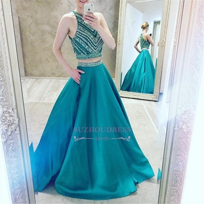 A-Line Two-Pieces Luxury Halter Crystal Sleeveless Prom Dress_1