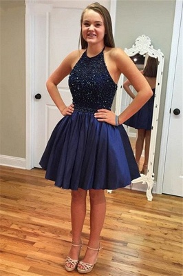 New Arrival Royal Blue Halter Short Homecoming Dress with Beadings A-Line Sleeveless Mini Cocktail Dress TB0205_2