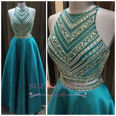 A-Line Two-Pieces Luxury Halter Crystal Sleeveless Prom Dress_4