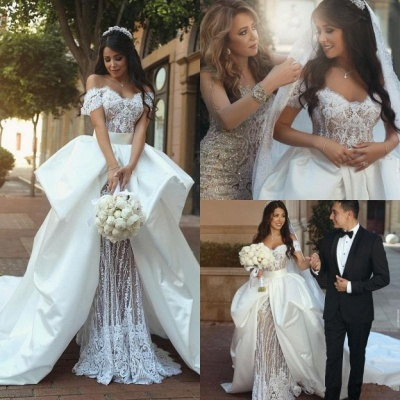 Off The Shoulder Lace Wedding Dresses  | Satin Overskirt Long Train Sexy Bridal Gowns_3