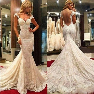 Gorgeous Sheer Tulle Back Wholesale Wedding Dresses with Chapel Train Fit and Flare Lace Bridal Gowns Online_3
