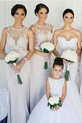 Sleeves Sheath Column Lace Sweep-train Scoop   Bridesmaid Dress_2