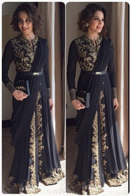 Arabic Muslim Evening Dresses Lace Sleeved Long Gold Indian Dresses_1