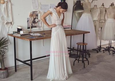 Chiffon Crystal Glamorous Lace Cap-Sleeve Lace Long Wedding Dress_1