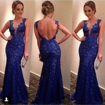 Custom Royal Blue Floor Length Short Sleeves Sexy Long Lace Prom Dress With Open Back_2
