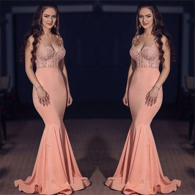 Spaghetti Straps Mermaid Pink Prom Dresses  Sexy Lace Sleeveless Formal Evening Gown_3