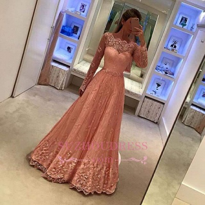 Appliques Newest Long Sleeves Lace Evening Gowns  A-Line  Prom Dress BA5376_1