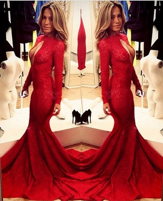 Sexy High Collar Mermaid Formal Occasion Dress Red Long Sleeve Court Train Evening Gown_1