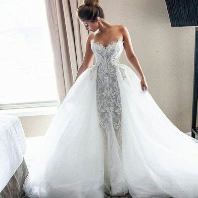 Strapless Sexy Lace Wedding Dresses   | Puffy Tulle Overskirt Bride Dresses_3