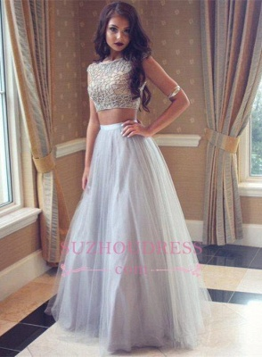 Beadings Tulle Long Beautiful Two-Pieces Prom Dress_2