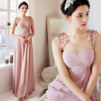 Long Pink Handmade Sheer-Neck Flowers Chiffon Bridesmaid Dresses_3