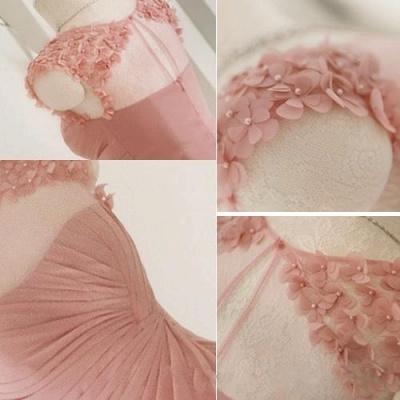 Long Pink Handmade Sheer-Neck Flowers Chiffon Bridesmaid Dresses_4