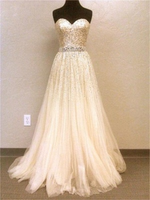 Sweetheart Tulle  Prom Dresses Sparkly Sweep Train Evening Dress_1