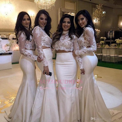 High-Neck Mermaid Two-Piece Lace Long-Sleeve Bridesmaid Dress_1