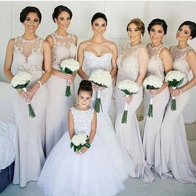Sleeves Sheath Column Lace Sweep-train Scoop   Bridesmaid Dress_3