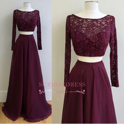 Two Pieces Burgundy Long Sleeve Prom Dress  Lace Gorgeous Evening Dress_1