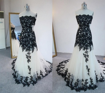 Latest Strapless Court Train Lace Prom Dress Custom Made Tulle Formal Occasion Dresses_2