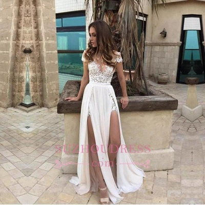 Short Sleeve Lace Appliques Chiffon Elegant Front Split A line Prom Dress_1