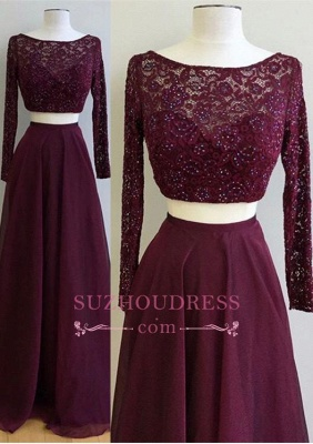 Two Pieces Burgundy Long Sleeve Prom Dress  Lace Gorgeous Evening Dress_2