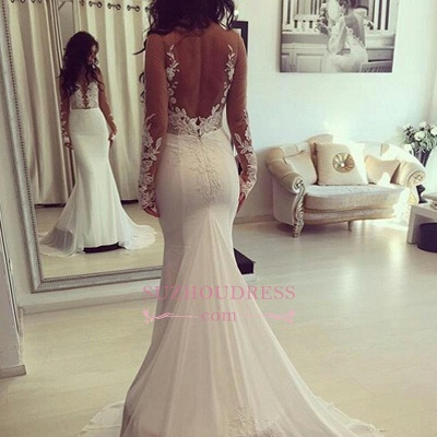 Long Sleeves Mermaid Appliques Elegant  Wedding Dresses_1