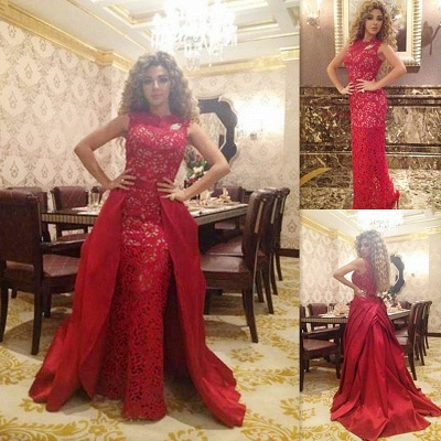 Elegant Red Lace Floor Length Evening Dress New Arrival Detachable Custom Made Special Occasion Dress_2