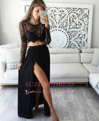 Simple Lace Black Long Sleeves Evening Gowns Two Piece Sexy Prom Dresses_3