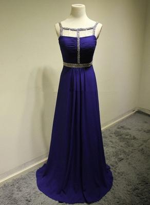 Dark Navy Spaghetti Strap Beading Prom Dresses Crystal Zipper Floor Length  Evening Dresses_1