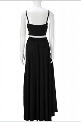Spaghetti Strap Two Piece Black Summer Dresses A-Line Floor Length Slit  Porm Gowns BA3973_3