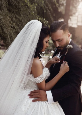 Affordable Off The Shoulder Beaded Appliques Ball Gown Wedding Dresses | Bridal Gowns Online_5