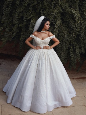 Affordable Off The Shoulder Beaded Appliques Ball Gown Wedding Dresses | Bridal Gowns Online_4