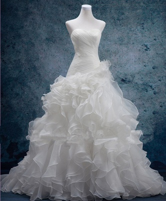 Sexy Sweetheart White Organza Long Wedding Dress Latest Court Train Lace-Up Bridal Gowns_1