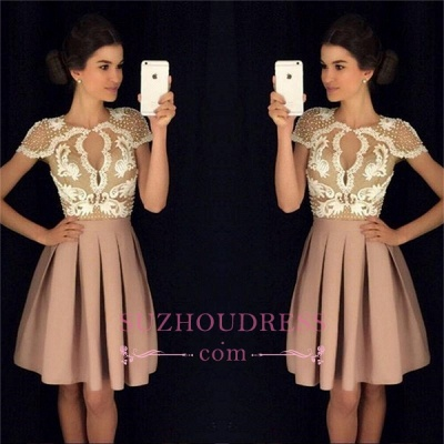 Newest Appliques A-Line Beadings Short-Sleeves Short Homecoming Dresses_1