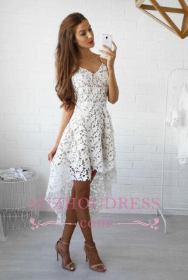 Spaghetti Straps Hi-Lo Lace Formal Dress V-Neck White   Homecoming Dresses_2
