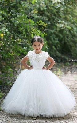 Cute White  Short Sleeve Tulle Flower Girl Dresses Custom Made Applique Special Occasion Dresses for Children MH002_3