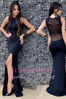 Sleeveless Split Black Sexy Mermaid Floor-Length Prom Dress_3