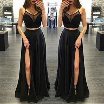 Spaghetti Strap Two Piece Black Summer Dresses A-Line Floor Length Slit  Porm Gowns BA3973_5