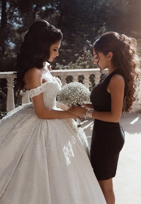 Affordable Off The Shoulder Beaded Appliques Ball Gown Wedding Dresses | Bridal Gowns Online_3