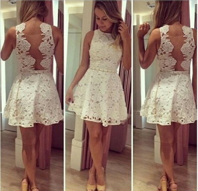 New Arrival White Lace Short Homecoming Dress Latest Simple  Mini Plus Size Cocktail Dress BA5381_2