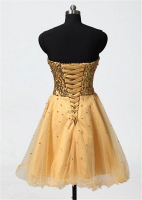 Sweetheart Gold Sequined Mini Homecoming Dress Cute Organza Lace-Up Mini Bridesmaid Dresses CJ0395_3