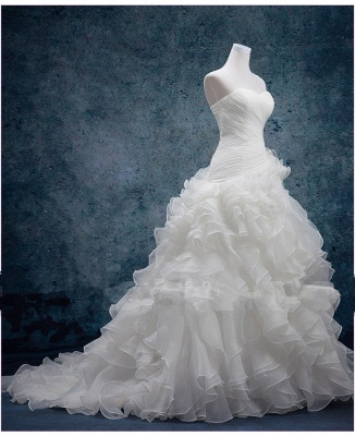 Sexy Sweetheart White Organza Long Wedding Dress Latest Court Train Lace-Up Bridal Gowns_2