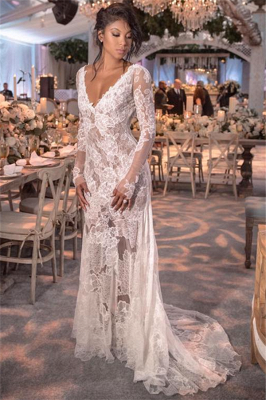 Open Back See Through Wedding Dresses Long Sleeve Lace Bridal Gowns Online_1